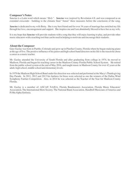 Preview Sanctus By Gary Gazlay (IZ CMS1610) - Sheet Music Plus
