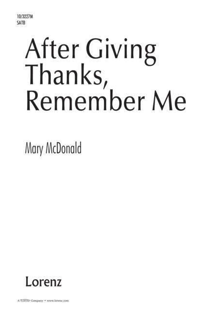 After Giving Thanks, Remember Me