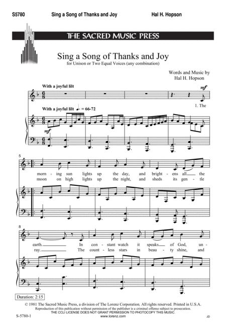 Sing a Song of Thanks and Joy