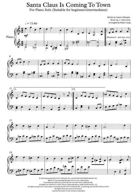 Santa Claus Is Comin' To Town (For piano solo, suitable for beginners/intermediates)