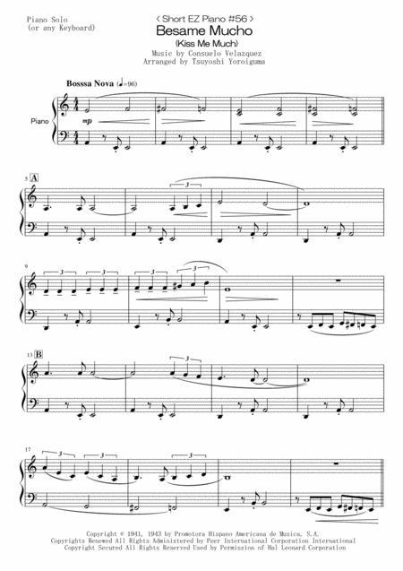 < Short EZ Piano #56 > Besame Mucho (Kiss Me Much)