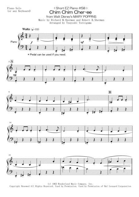 < Short EZ Piano #58 > Chim Chim Cher-ee from Walt Disney's MARY POPPINS