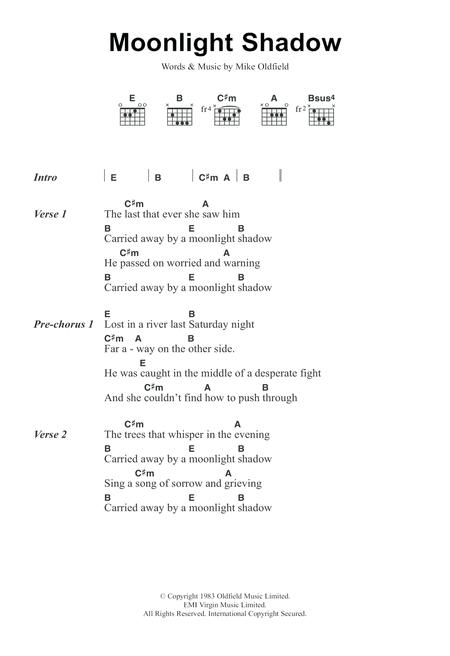 Download Moonlight Shadow Sheet Music By Mike Oldfield Sheet Music