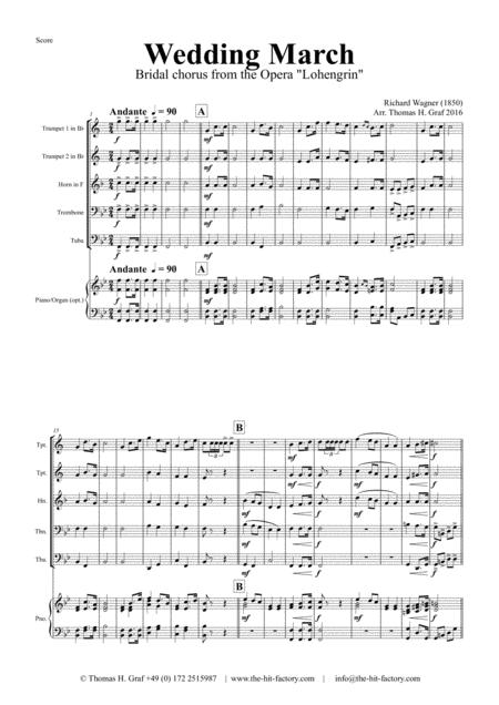Wedding March - Bridal chorus Lohengrin - Brass Quintet