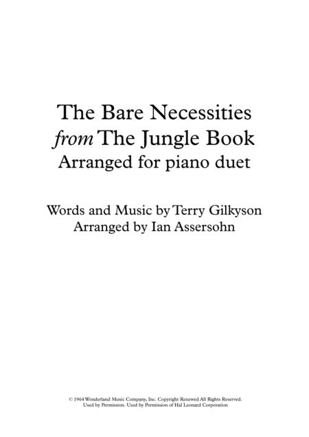 The Bare Necessities arranged for piano duet