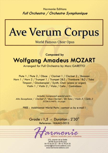 AVE VERUM CORPUS for Beginner Full (or String) Orchestra - W.A. MOZART