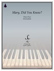 Mary, Did You Know? (1 piano, 4 hand duet)