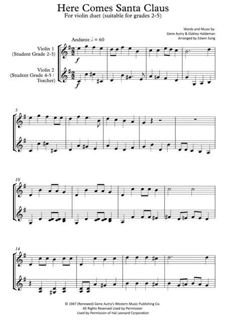 Here Comes Santa Claus (violin duet,~grades 2-5,part scores included)