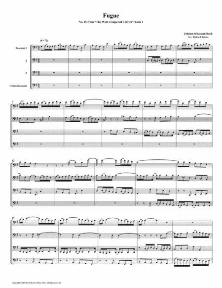 Fugue 15 from Well-Tempered Clavier, Book 1 (Bassoon Quartet)