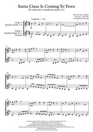 Santa Claus Is Comin' To Town (violin duet,~grades 2-5,part scores included)