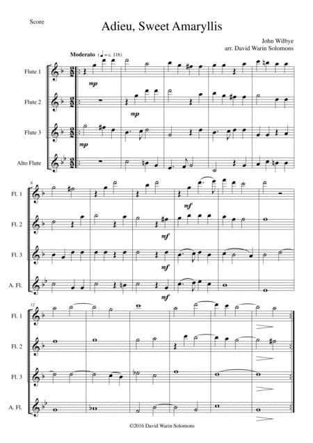 Adieu sweet Amaryllis for flute quartet (3 flutes and 1 alto flute)