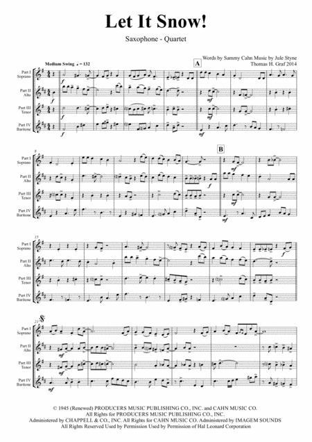 Let It Snow! Let It Snow! Let It Snow! - Christmas Song by Sammy Cahn - Swing - Saxophone Quartet