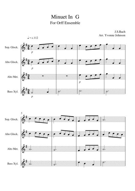 Minuet In G - For Orff Ensemble
