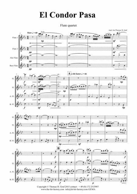 El Condor pasa - Peruvian Folk Song - Flute Quartet
