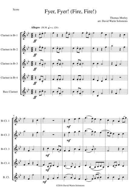 Fyer Fyer! (Fire! Fire!) for clarinet quintet (4 B flats and 1 bass)