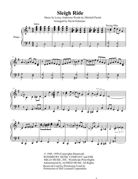 Download Sleigh Ride Sheet Music By Leroy Anderson Sheet Music Plus