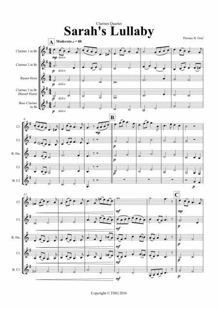 Sarah's Lullaby - Grade 2 - Clarinet Quartet