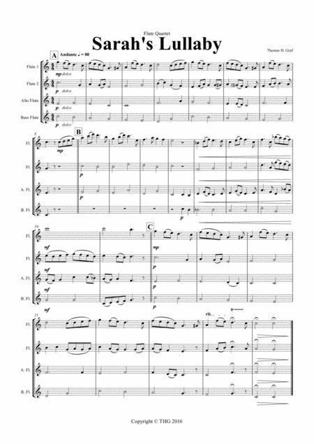 Sarah's Lullaby - Grade 2 - Flute Quartet