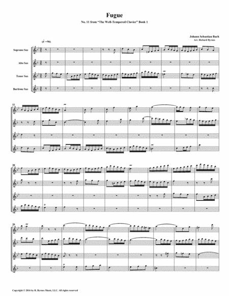 Fugue 11 from Well-Tempered Clavier, Book 1 (Saxophone Quartet)