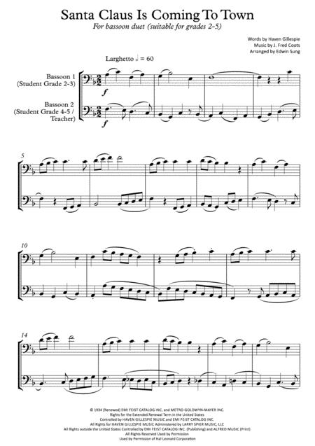 Santa Claus Is Comin' To Town (bassoon duet,~grades 2-5,part scores included)