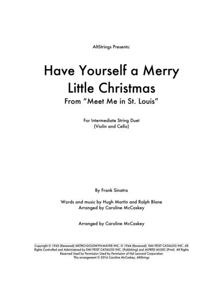 Have Yourself A Merry Little Christmas - Violin and Cello Duet