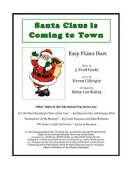 Santa Claus Is Comin' To Town Easy Piano Duet