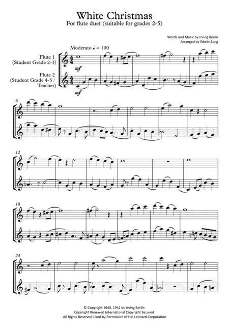 White Christmas (flute duet,~grades 2-5,part scores included)