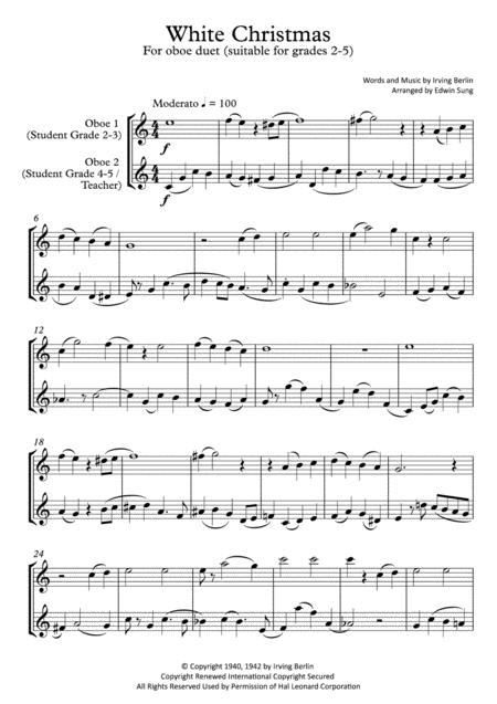 White Christmas (oboe duet,~grades 2-5,part scores included)