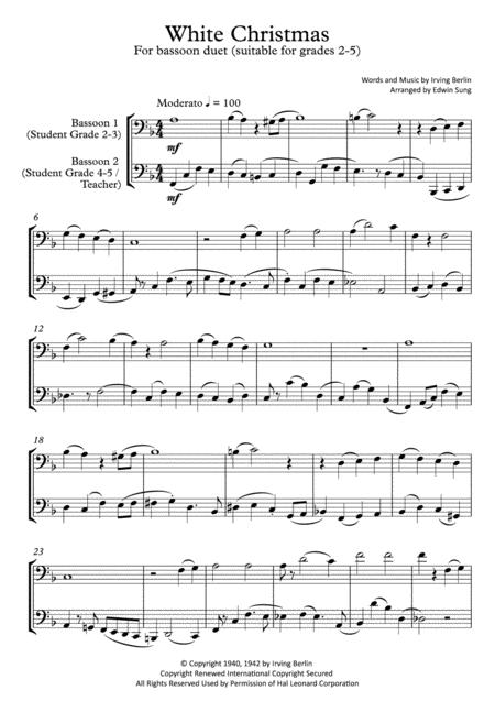 White Christmas (bassoon duet,~grades 2-5,part scores included)