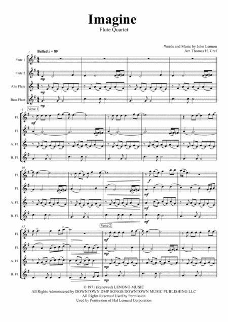 Download Imagine John Lennons Classic Flute Quartet Sheet Music