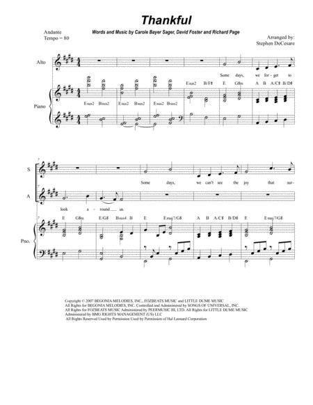 Thankful (Duet for Soprano and Alto solo)