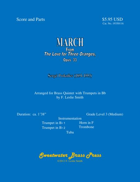 March from The Love for Three Oranges (Quintet with Bb Trumpets)