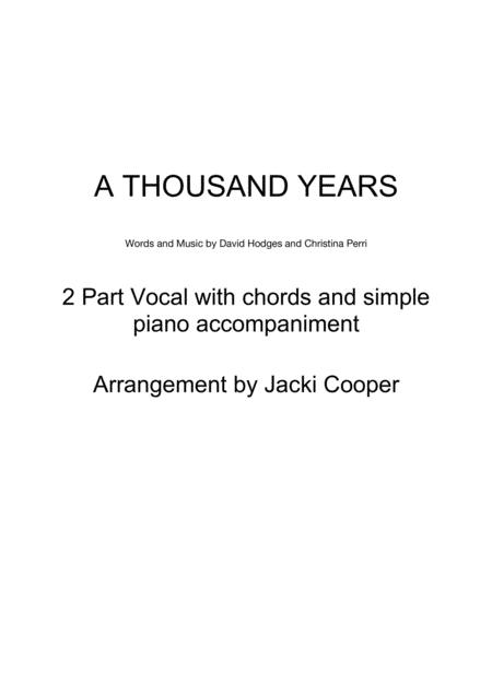 Download A Thousand Years For 2 Voices With Chords And Easy Piano