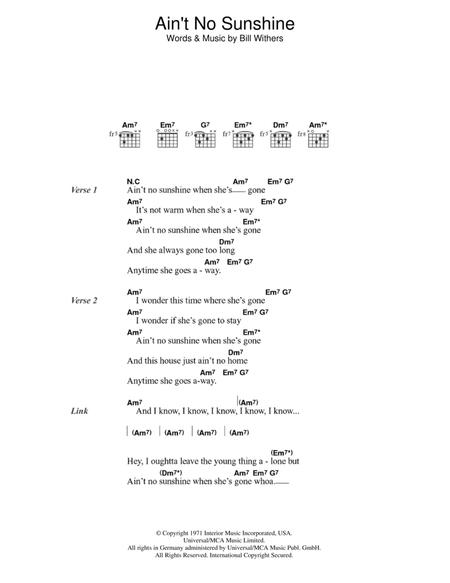 Ain 039 T No Sunshine By Digital Sheet Music For Guitar Chords Only Download Print Hx 350629 Sheet Music Plus This song has no tabs yet. sheet music plus