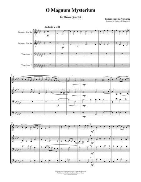 O Magnum Mysterium, Renaissance Christmas Motet for Brass Quartet