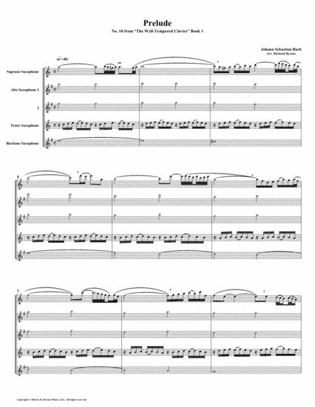 Prelude 10 from Well-Tempered Clavier, Book 1 (Saxophone Quintet)