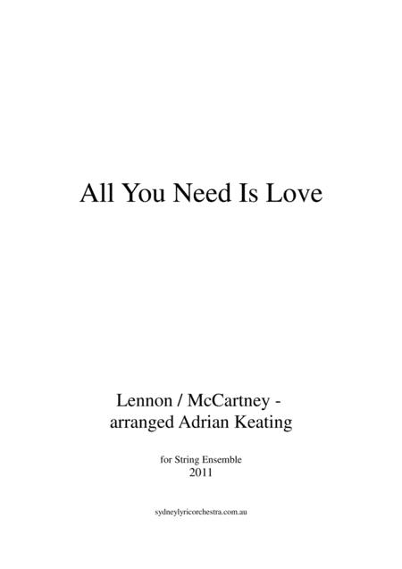 All You Need Is Love - String Chamber Orchestra - minimum 9 players - intermediate to professional ensemble