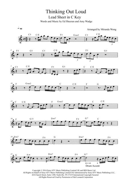 Download Thinking Out Loud - Alto Saxophone Solo Sheet Music By Ed ...
