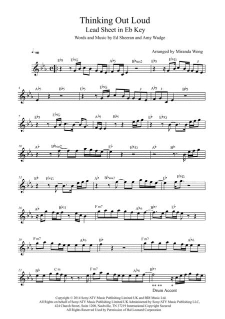 Download Thinking Out Loud Lead Sheet In 4 Keys With Chords