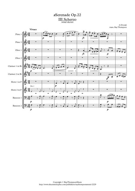 Dvorak: Serenade for Strings Op.22 Mvt. III Scherzo - wind dectet