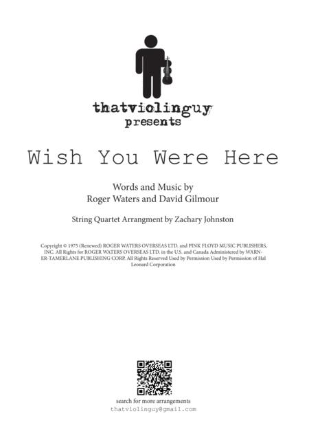 Wish You Were Here for String Quartet