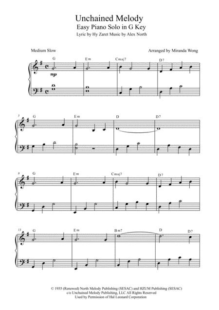Download Unchained Melody - Easy Piano Solo In G Key (With Chords ...