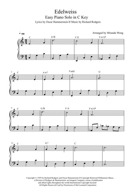 Download Edelweiss - Easy Piano Solo In C Key (With Chords) Sheet ...