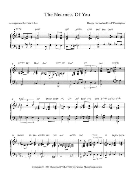 Download The Nearness Of You - A Jazz Piano Arrangement By