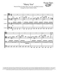 Marry You - Cello Quartet - Bruno Mars arr. Cellobat