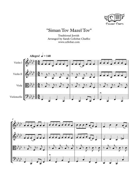 Download Siman Tov Mazel Tov - String Quartet - Traditional