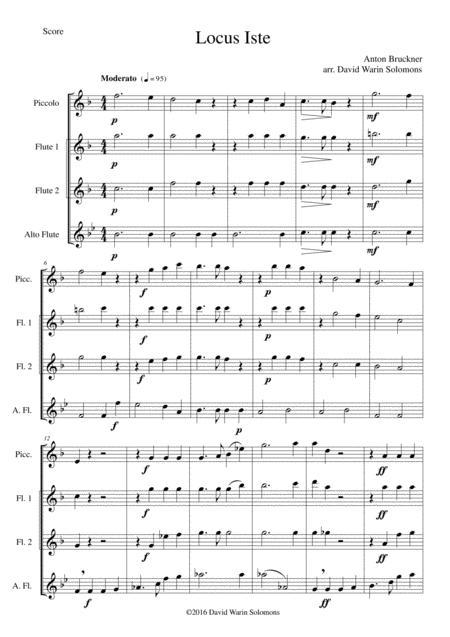 Locus Iste for flute quartet (piccolo, 2 flutes and alto flute)