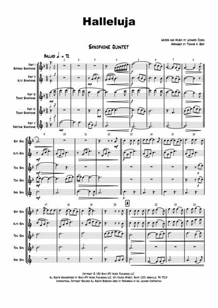 Halleluja - sophisticated arrangement of Cohen's Classic - Saxophone Quintet