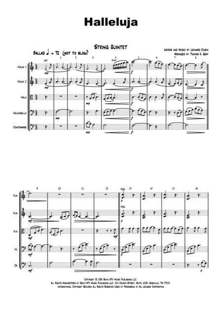 Halleluja - sophisticated arrangement of Cohen's Classic - String Quintet