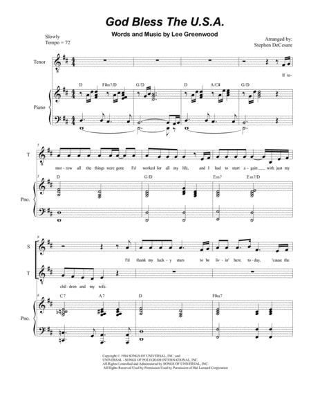 God Bless The U.S.A. (Duet for Soprano and Tenor Solo)